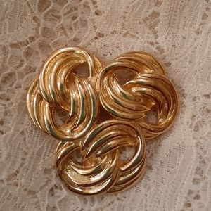 Big and Beautiful Knot Brooch Vintage Gold Tone